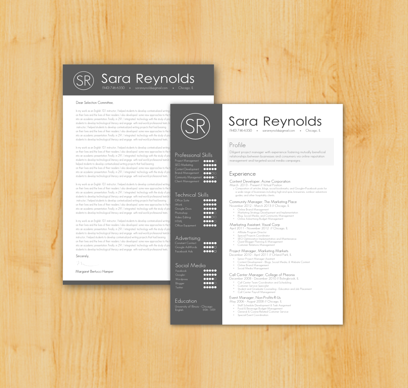 custom resume cover letter writing and design